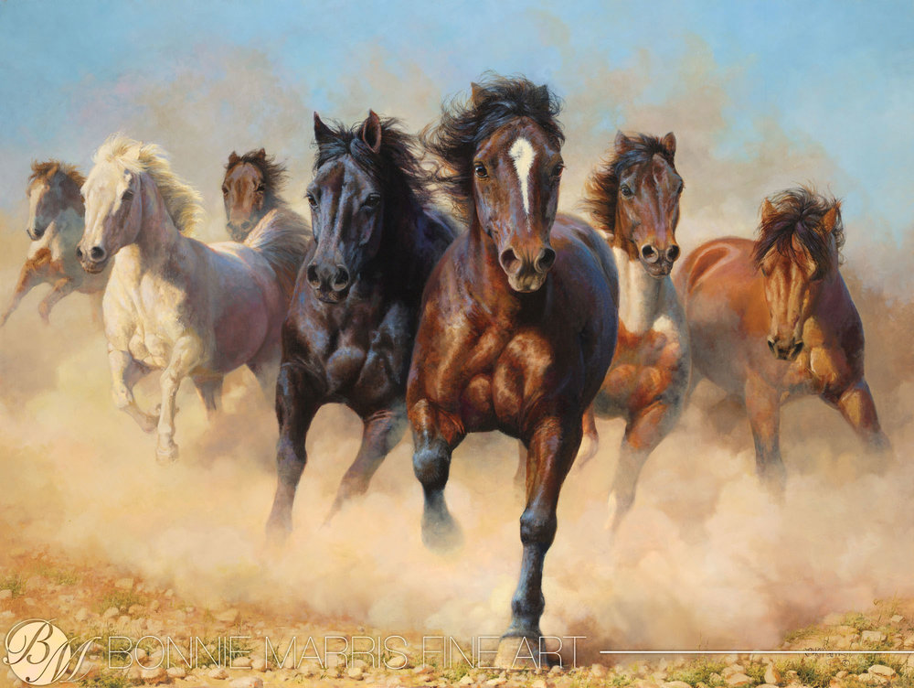 "Thunder and Dust   The wild plains horses in ""Thunder and Dust"" are the quintessential example of what makes Bonnie Marris one of the finest wildlife artists working today. Combining passion for her subjects with mastery of color and composition, Marris' paintings embody the drama and energy of pure wildlife pleasure.  Horses run for the joy of it and the love of their own speed with each horse racing to win. This shows speed as a glowing, powerful feeling, through bold color and bright light."