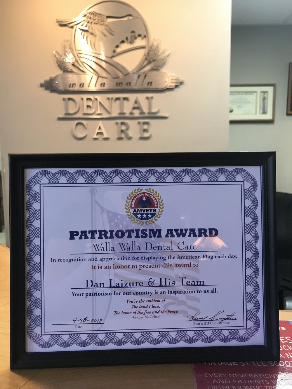 Patriotism Award - For the second year, Dr. Laizure has been presented with this inspirational award. We are proud supporters of our veterans and our country and will display our flag freely every day. Thank you AMVets!2018