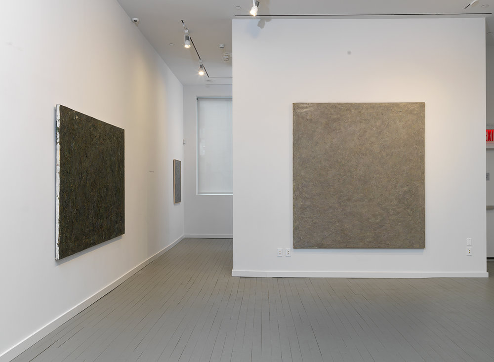 Left: Burned O, 1983 Oil on canvas 60 x 80 inches  Right: Winter X, 1975 Oil on canvas 90 x 80 inches