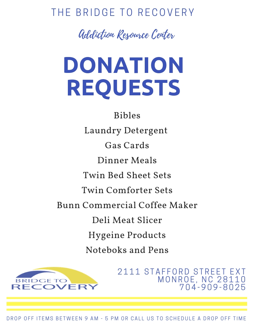 Thank you in advance for the donations you make. Your support is essential to us and the help we provide to those in our programs.