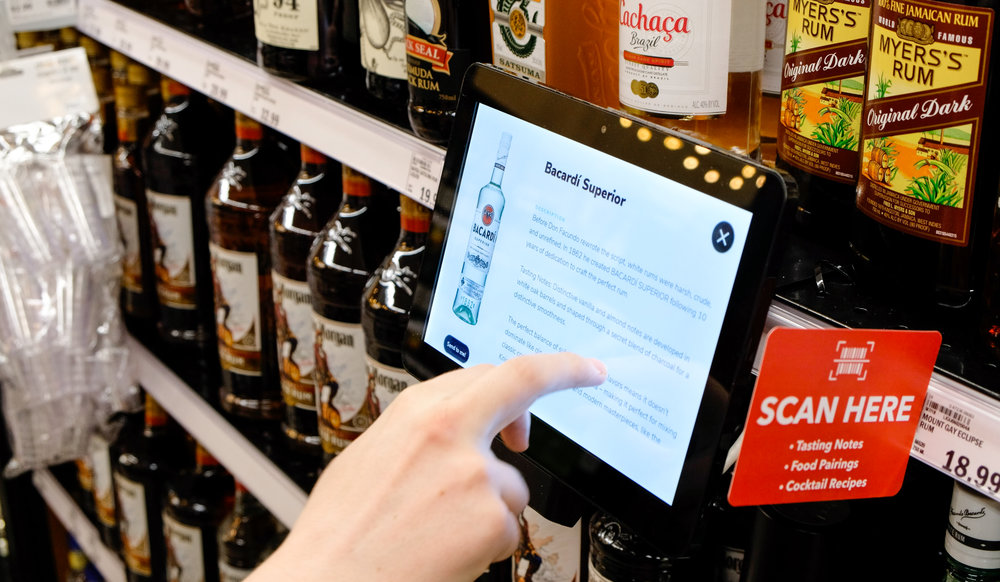 Learn More - Shoppers can view product description, tasting notes, food pairing suggestions and even text / email info to themselves from the tablet.