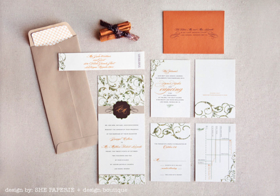 elegant green and brown invitation suite