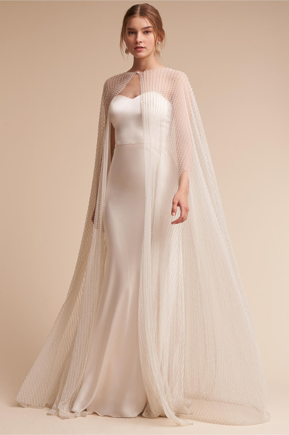 BHLDN Wedding dress and wedding cape las vegas wedding planner green orchid events