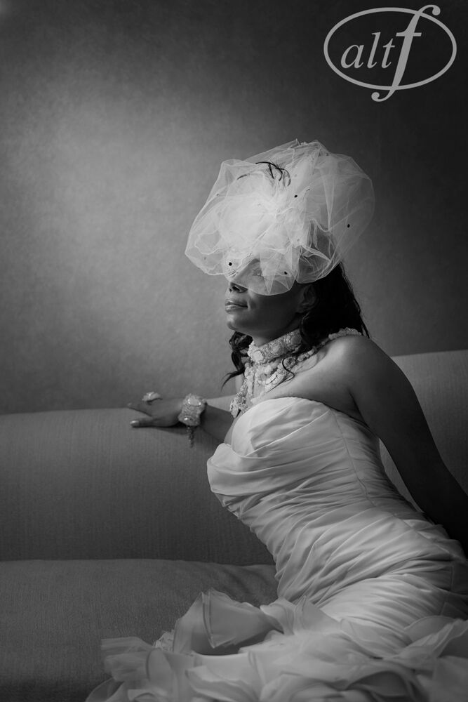 Black and white photography of bride on wedding day
