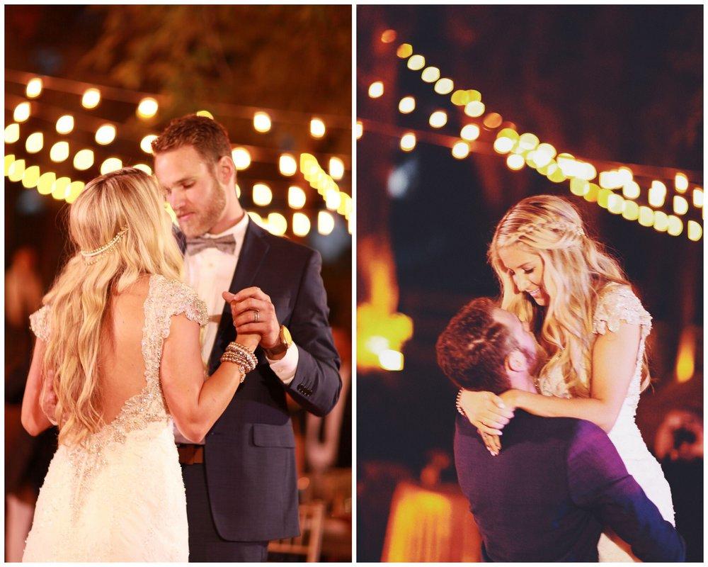 bride and groom dancing at their wedding outdoors, las vegas wedding planner