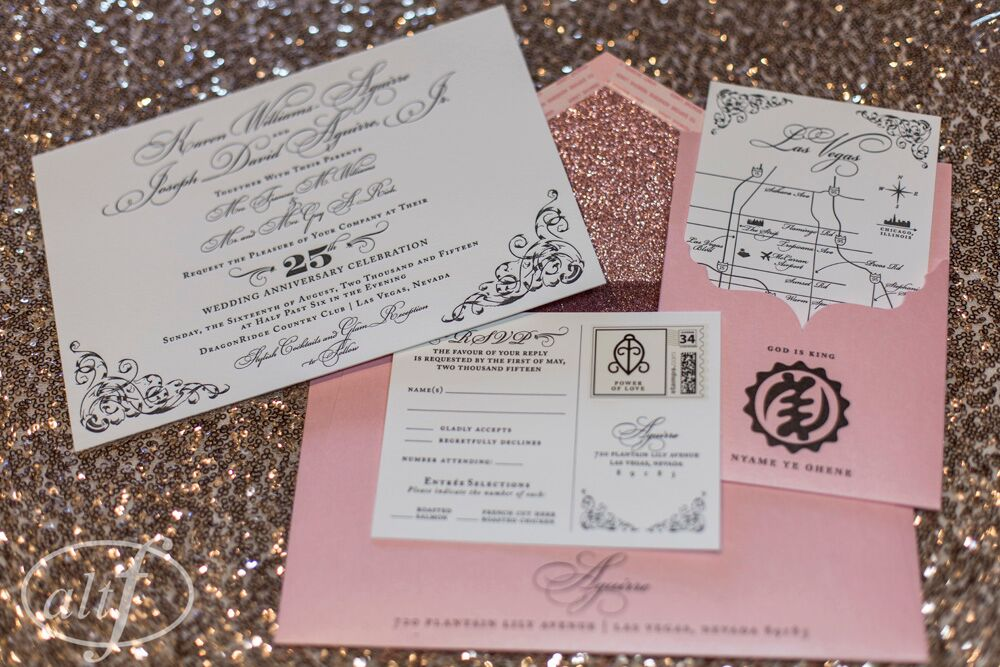 Custom pink wedding invitation suite by Paper and Home