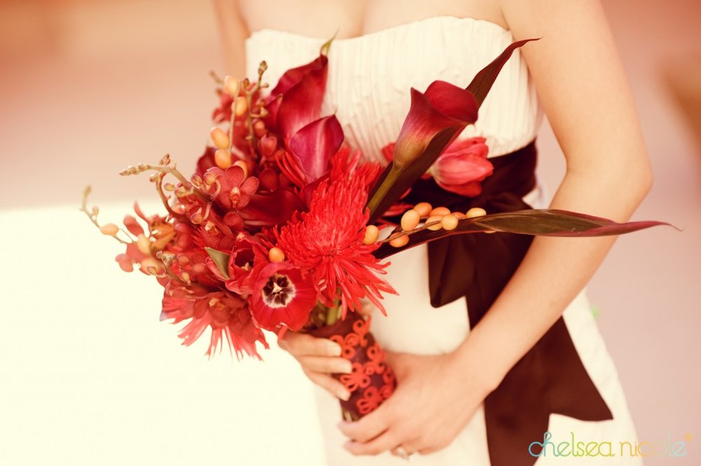 Chinese inspired bridal bouquet with frog buttons