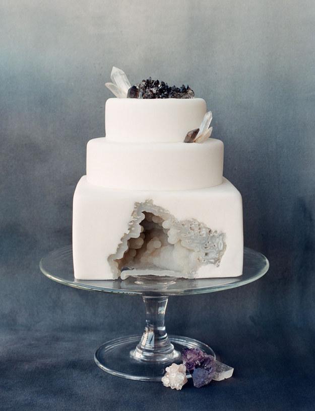 Geode white wedding cake rock gems