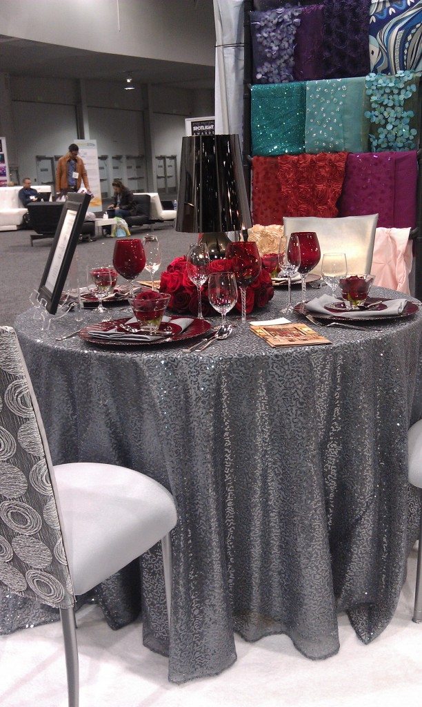 red glassware and silver sparkly linen