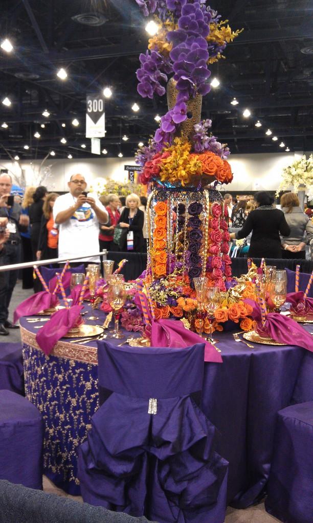 purple, orange, hot pink vibrant tablescape