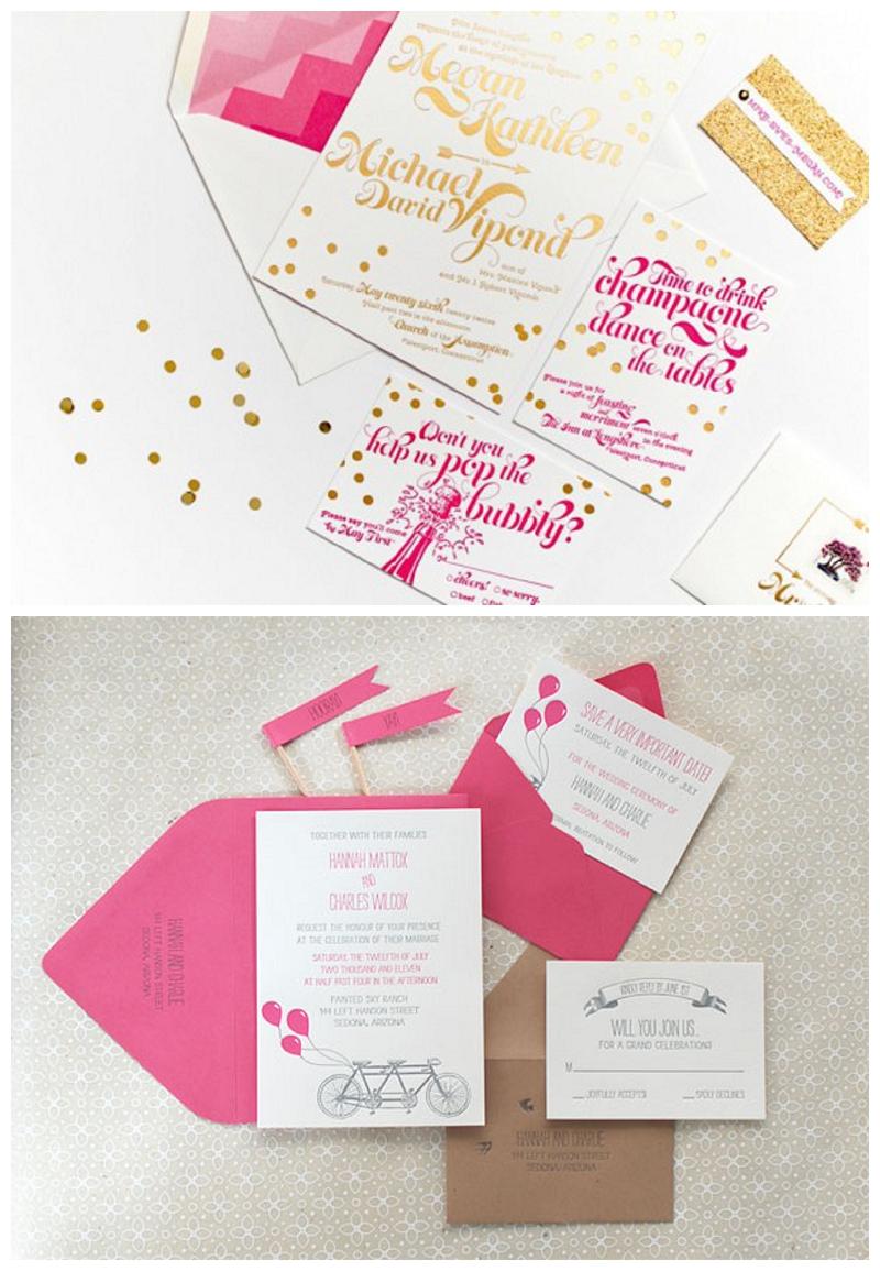 Pink-Gold-Foil-Confetti-Wedding-Invitations-Coral-Pheasant-550x381
