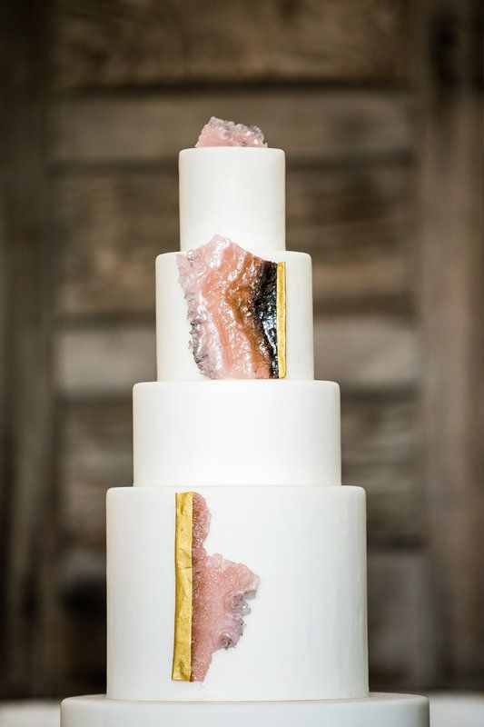Pink and gold geode cake