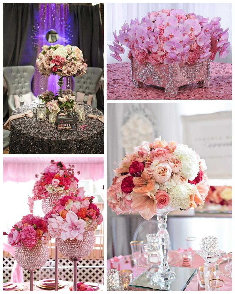 blush pink hot pink fuschia flower centerpieces
