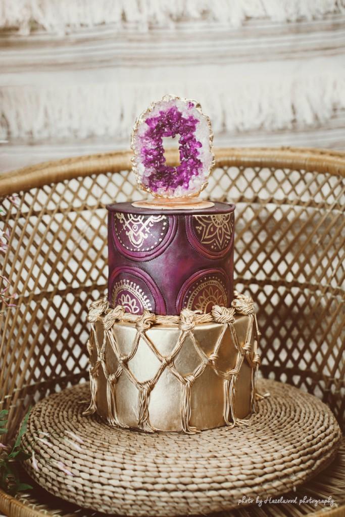 boho_cake_rock_candy_geode wedding cake
