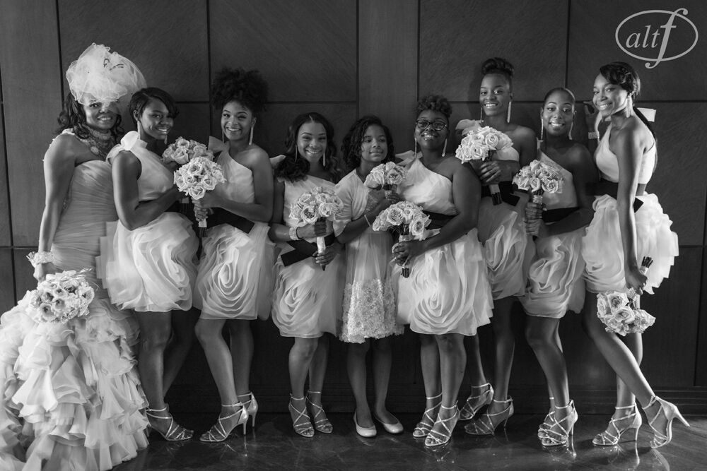 bride and bridesmaids on the wedding day
