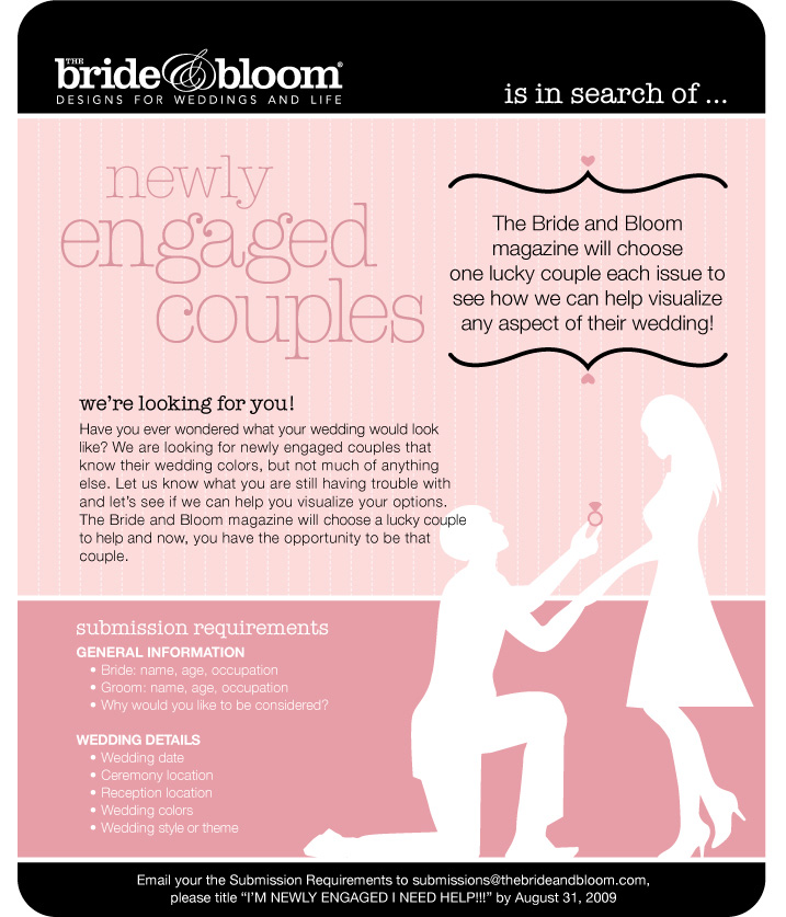 bride and bloom magazine contest for engaged couples