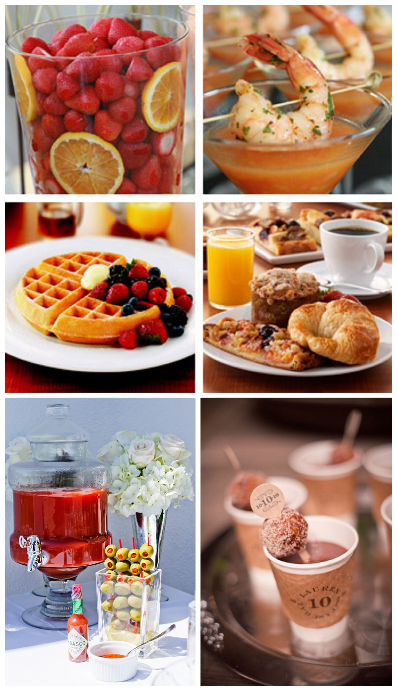 brunch wedding, bloody mary bar, coffee and donuts, waffles