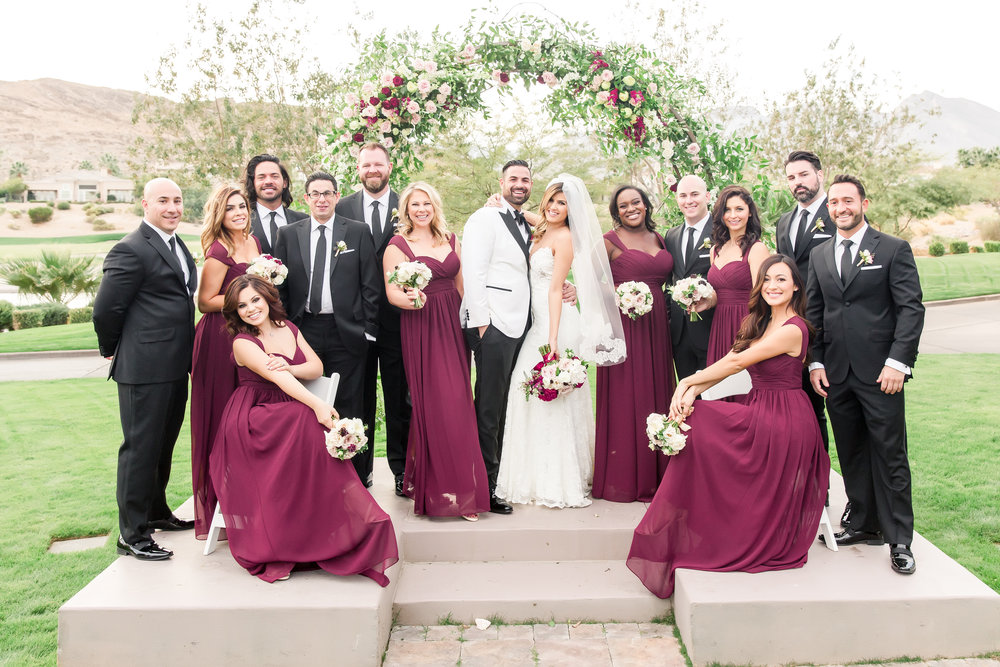 bridal party, wedding party, bridesmaid dresses, groomsmen suits, las vegas wedding planner, green orchid events