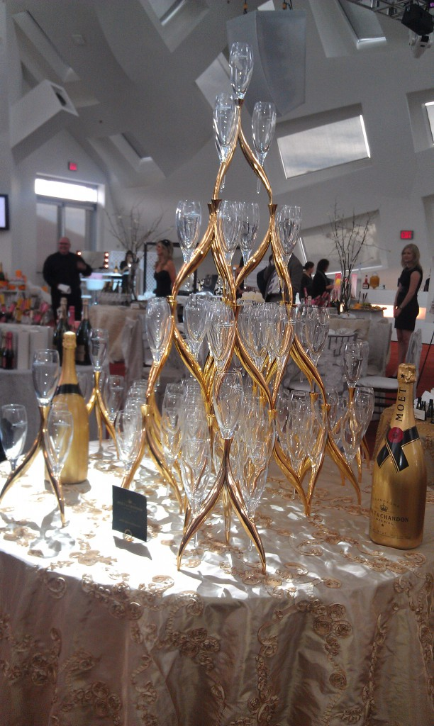 champagne flute tower