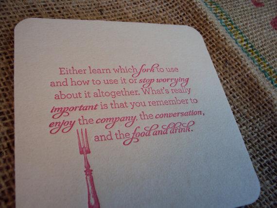 etiquette letterpress coasters