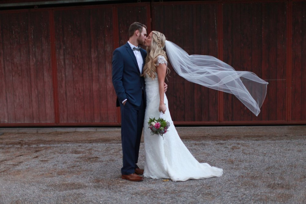 bride and groom on their wedding day. veil shot