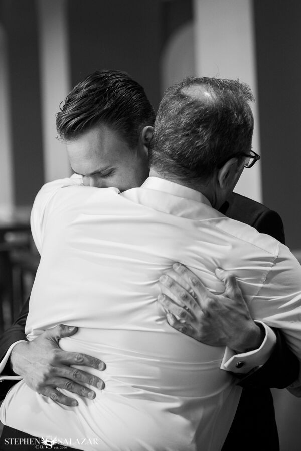 father and son on the wedding day