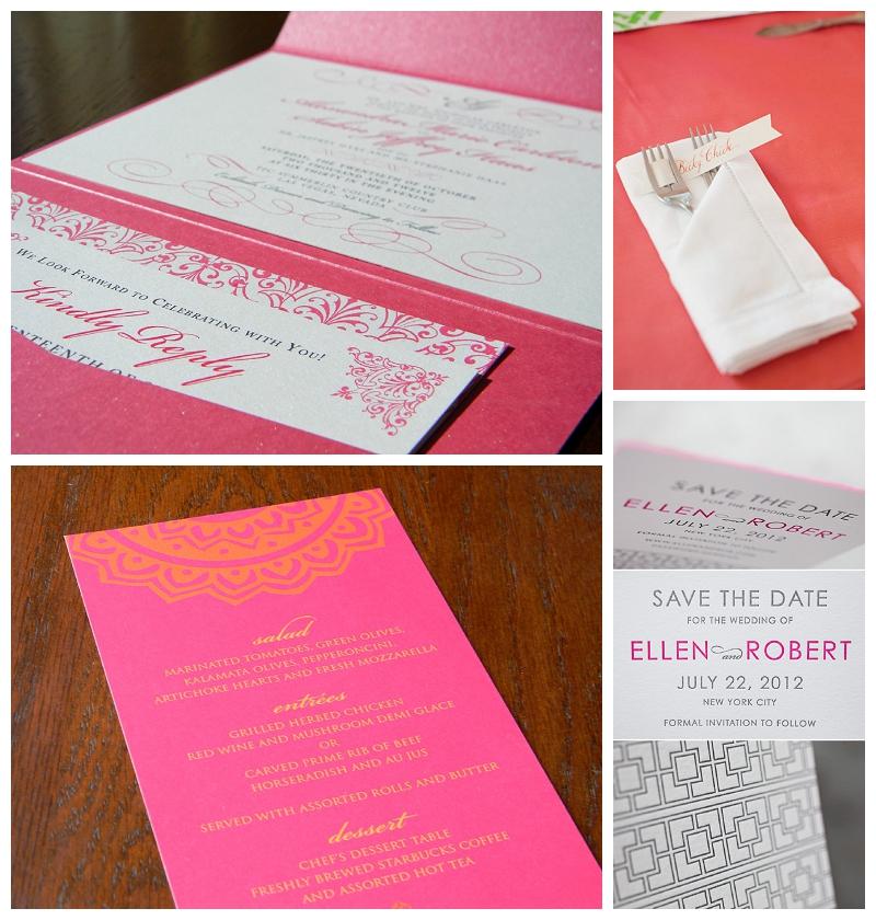 hot pink letterpress stationery