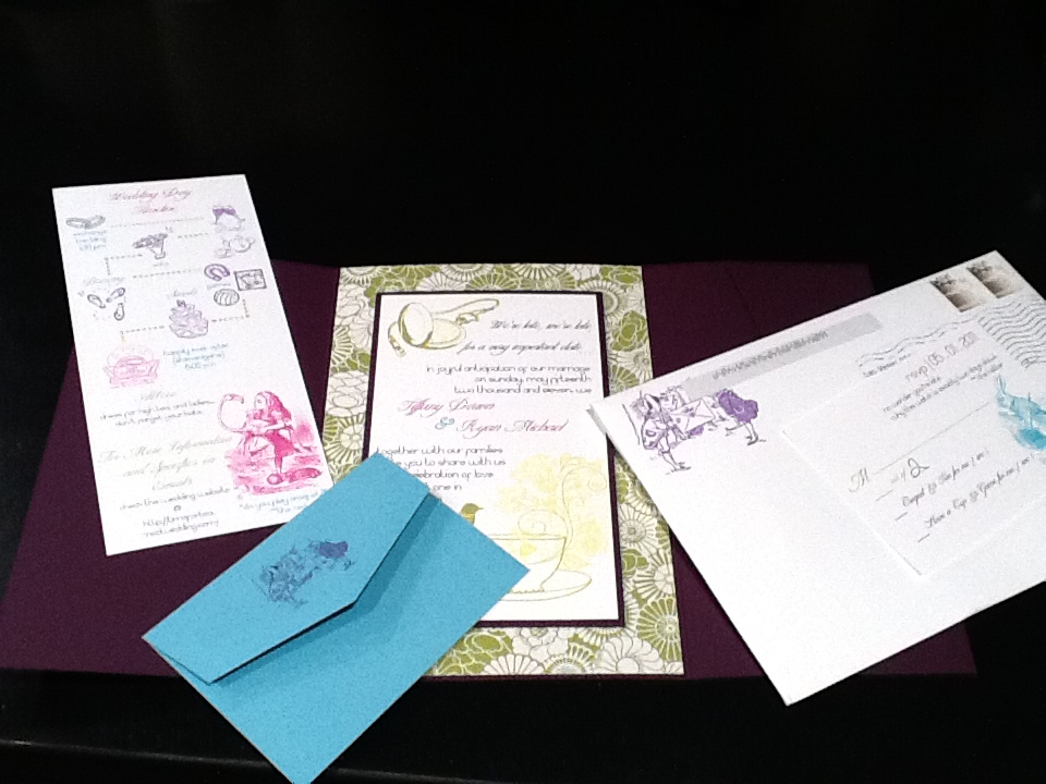 afternoon tea mad hatter wedding invitation