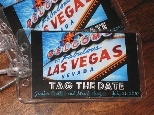 las vegas luggage tag save the date