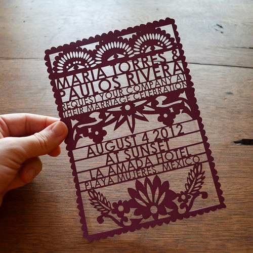 laser cut invitations papel picado