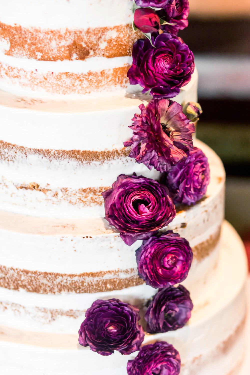 naked wedding cake with burgundy flowers, wedding cakes, wedding cake trends, las vegas custom cakes