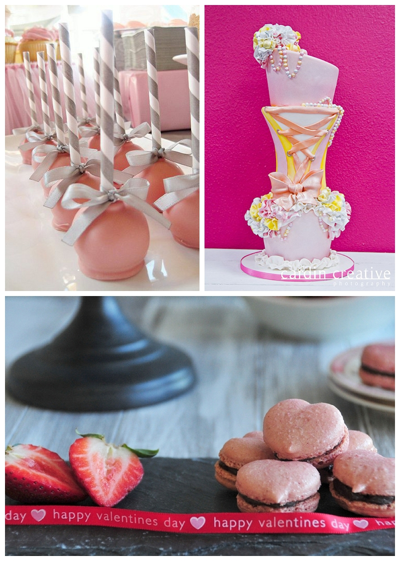 pink cake pops and heart shaped macarons, pink wedding cake