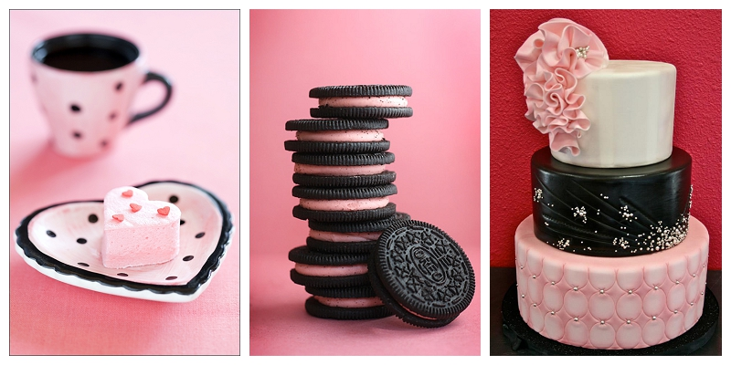 pink oreo, pink heart shaped marshmallow, pink and black wedding cake