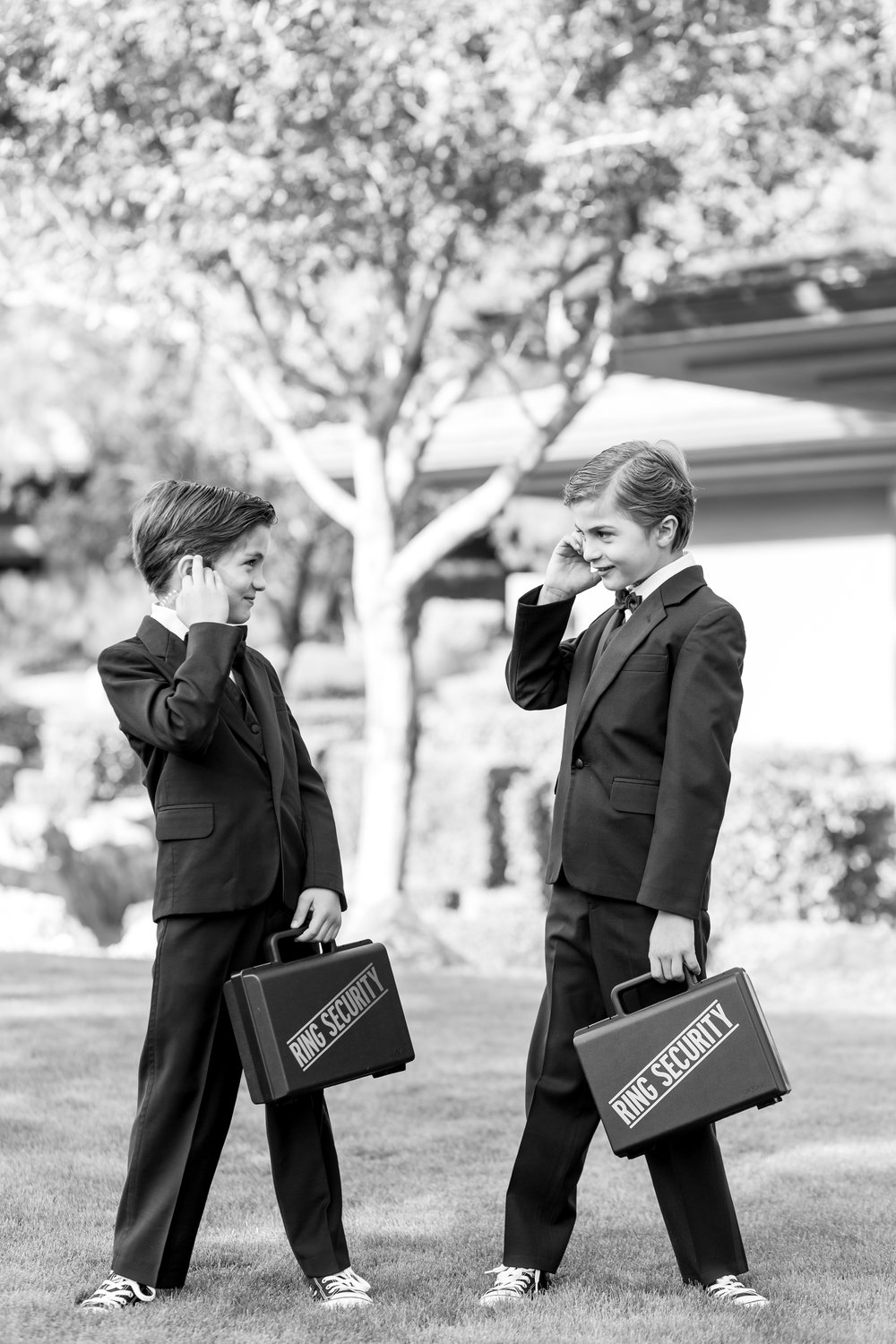 ring bearers, red rock country club wedding, las vegas wedding planner, green orchid events, black and white photography