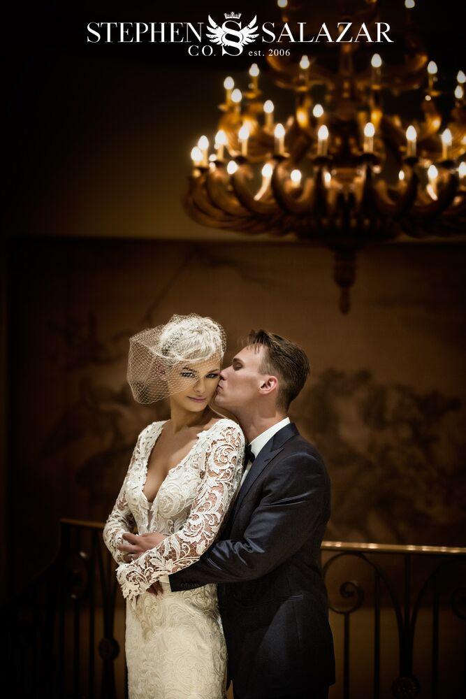 romantic photo of bride and groom at Four Seasons Las Vegas