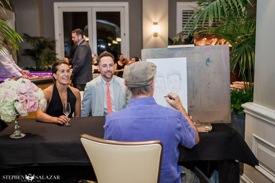 sketch artist at a wedding reception