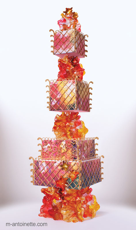 sugar glass and cake tower