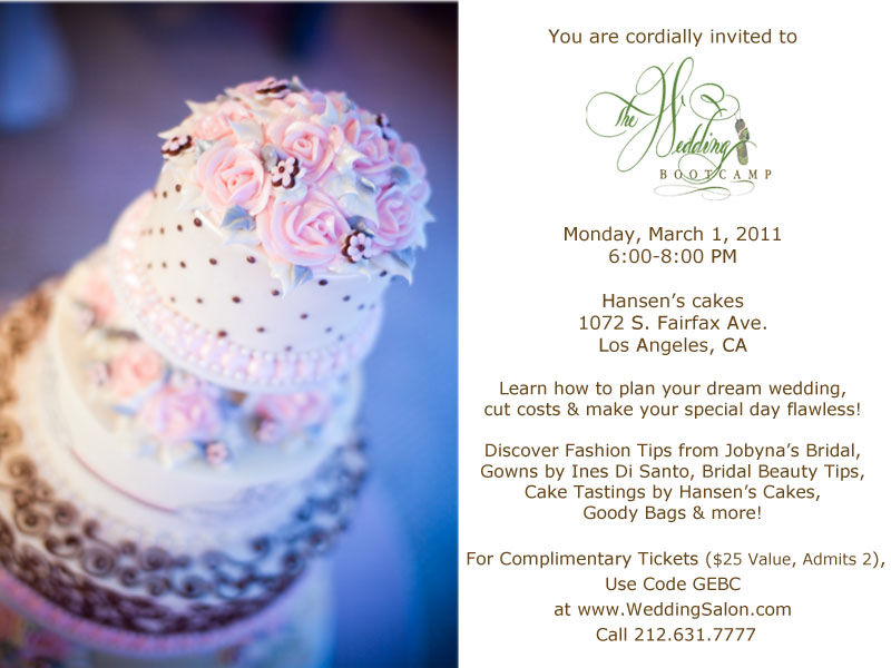 the wedding salon Bootcamp Invite