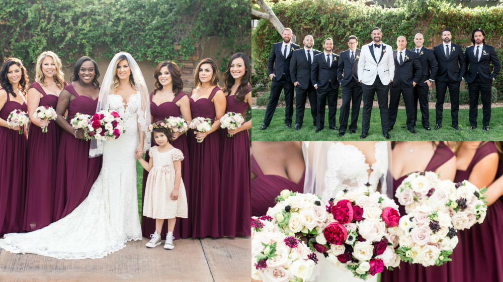 bridesmaids, groomsmen, wedding day, bouquets, wedding bouquets, floral, wedding floral, red rock country club wedding, las vegas wedding planner, green orchid events