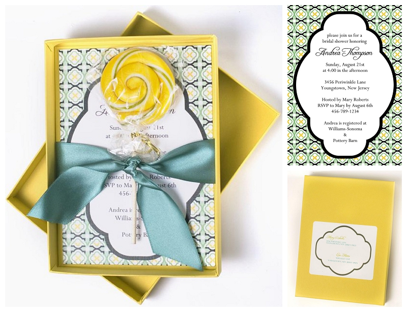yellow, blue, green invitation with lollipop