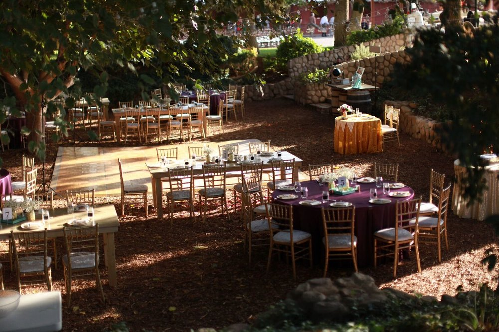 reception set up at legends ranch, wooden tables, chiavari chairs, rustic wedding