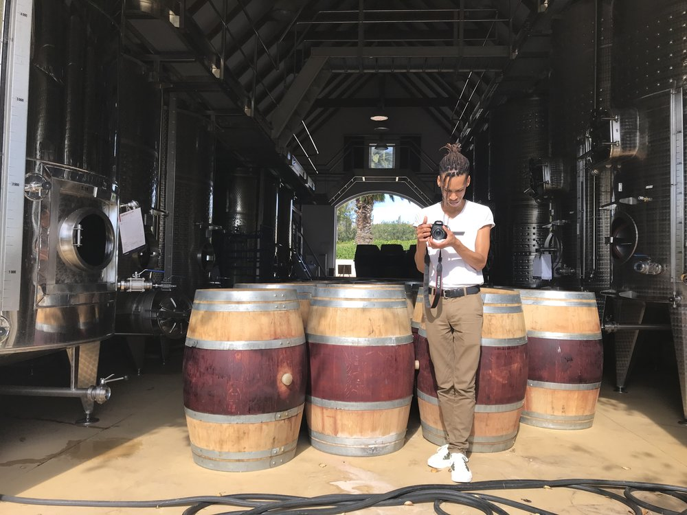 Wine Distillery room. Pictured, friend and photographer-  Ashley Smith