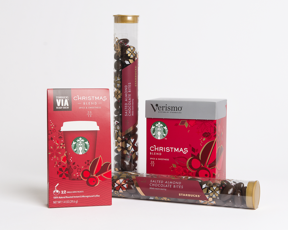 "Each Starbucks VIA or Verismo package has a unique ""corsage"" element and foil accents.  The elongated shape of the Salted Almond Chocolate Bites tube makes it an easy stocking-stuffer, while the delicate foil ""snowflake"" pattern makes it giftable without needing to be wrapped."