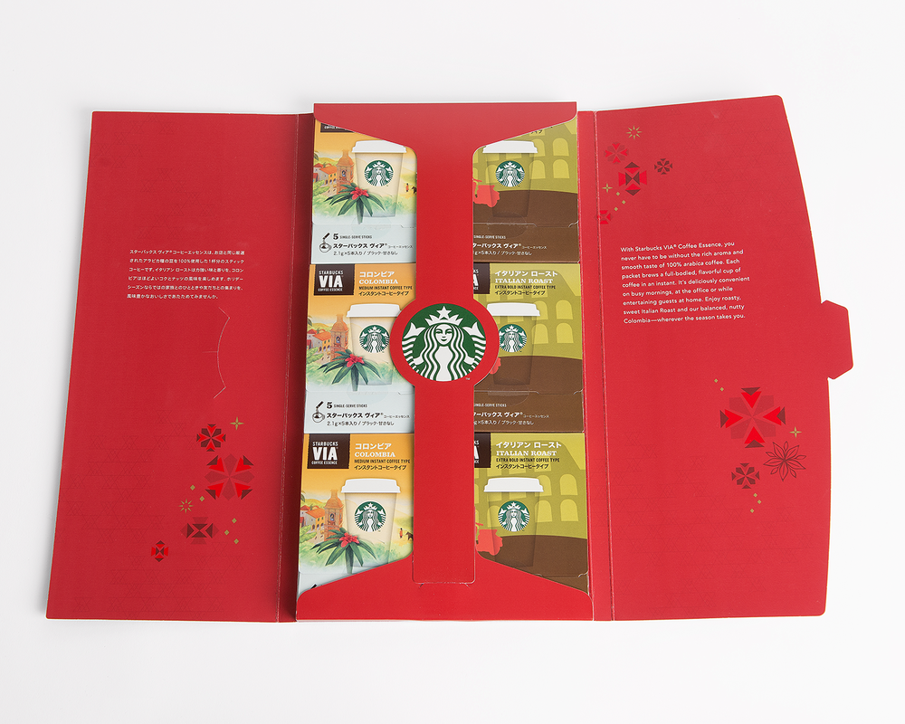 VIA Coffee Essence Japan Year-End Gift Tablet – Tablets are displayed open so red was utilized inside and out to indicate Holiday. The large Starbucks logo is a beacon that drives purchases.