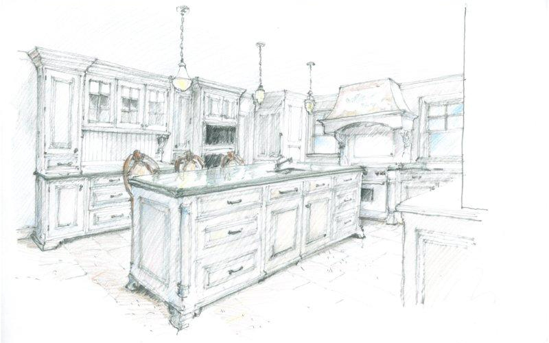 Sketch of kitchen 1