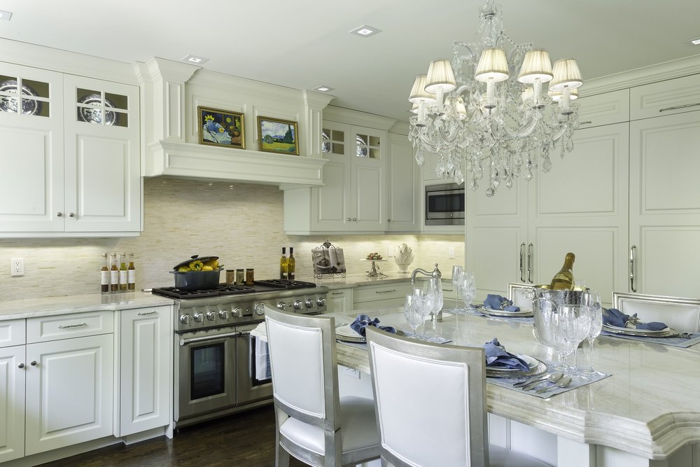Traditional style kitchen with a beautiful and classic designed chandelier