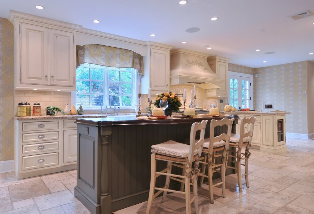 Traditional style kitchen with classic french windows and door