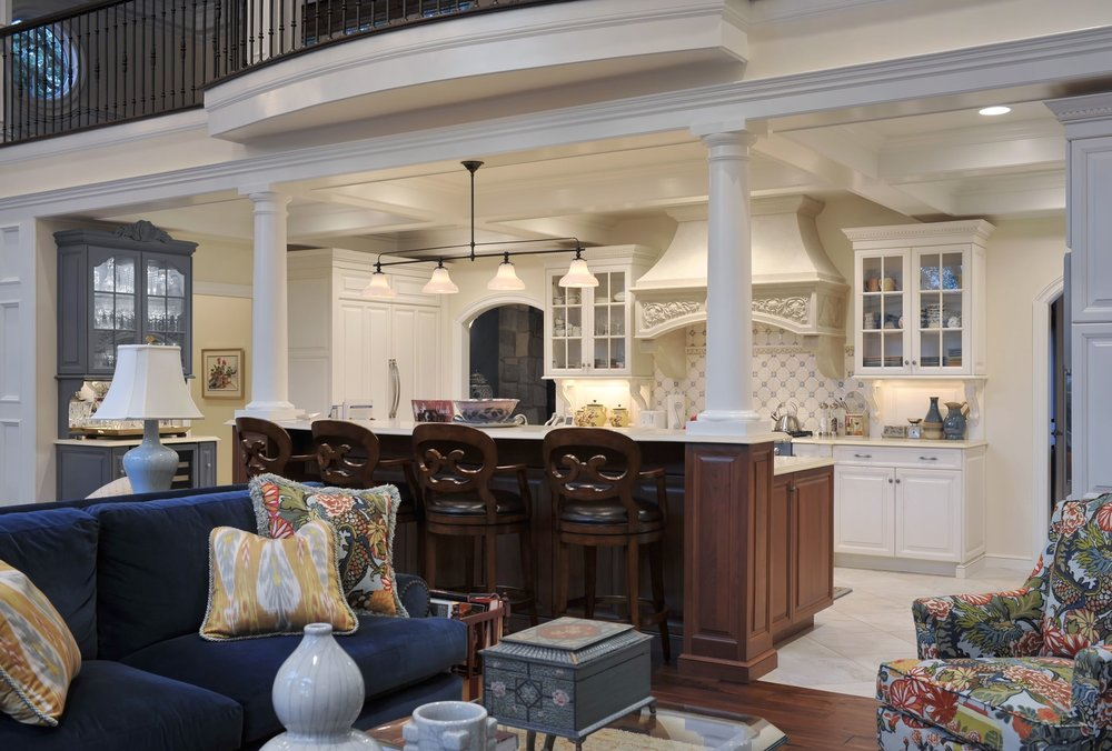 Traditional style kitchen with open living room space