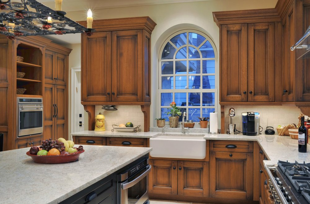 Traditional style kitchen with spacious cabinets and shelves