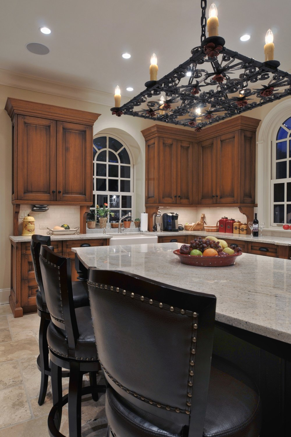 Traditional style kitchen with warm and bright lighting